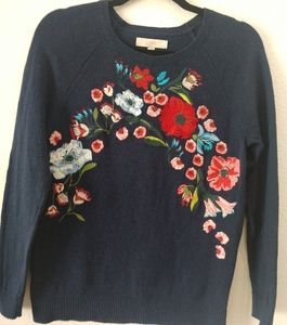 Loft Navy Blue SZ L Cotton Wool Sweater